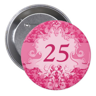 """25"" age damask elephant pink button/badge 3 inch round button"