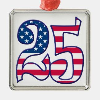 25 Age USA Silver-Colored Square Ornament