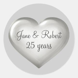 25 ans de coeur d anniversaire en verre argenté d