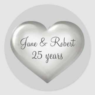 25 ans de coeur d'anniversaire en verre argenté sticker rond