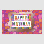 25 Artistic Decorative HAPPY BIRTHDAY Script Rectangular Stickers