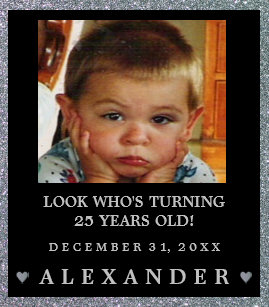 25 Birthday Photo Silver Glitter Look Champagne Or Wine Label