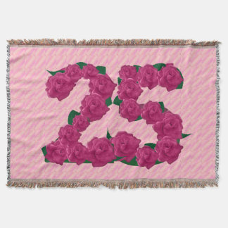 25 cute pink rose flowers 25th birthday blanket