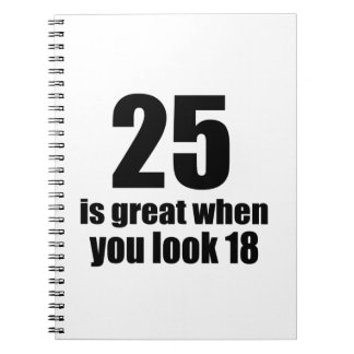 25 Is Great When You Look Birthday Spiral Notebook