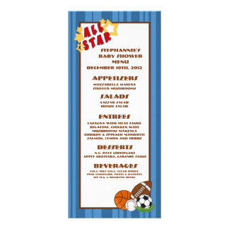 25 Menu Cards All Star Blue