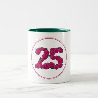 25 Number 25th Birthday Anniversary cute pink mug