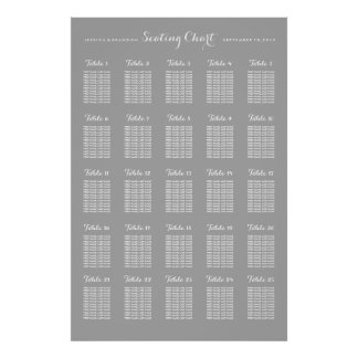 25 Table Large Wedding Seating Chart by Table