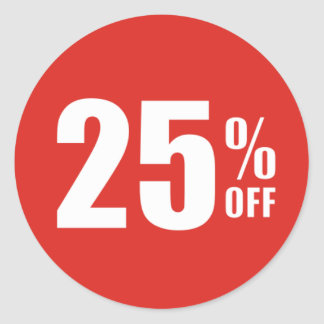 25% Twenty Five Percent OFF Discount Sale Sticker