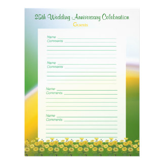 25 Wedding Anniversary Party Guest Book Pages Personalized Letterhead