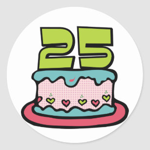 25 Year Old Birthday Cake Classic Round Sticker