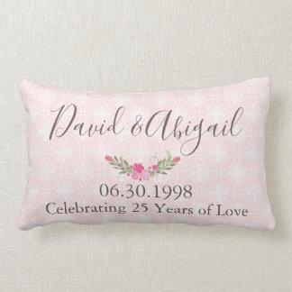 25 Year Wedding Anniversary Pretty Pink Lumbar Pillow