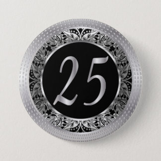 25 Years in Silver and Black Paisley 3 Inch Round Button
