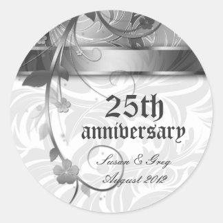 25ème Anniversaire argenté floral Adhésifs Ronds
