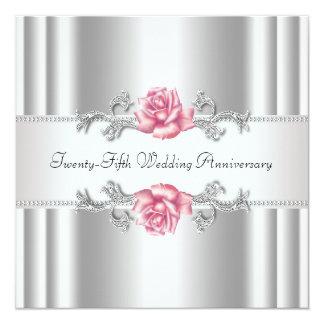 25ème anniversaire de mariage d'argent rose de carton d'invitation  13,33 cm
