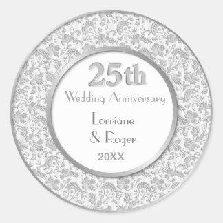 25ème anniversaire de mariage d'élégance florale sticker rond