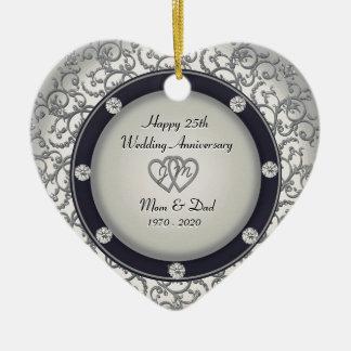25ème Anniversaire de mariage Ornement Cœur En Céramique