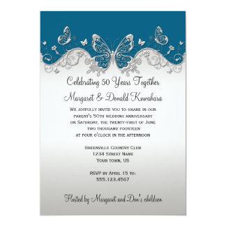 25ème anniversaire de papillons argentés carton d'invitation  12,7 cm x 17,78 cm