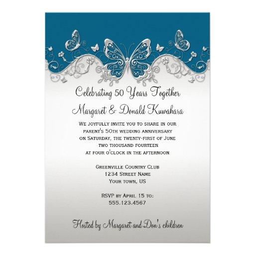 25ème anniversaire de papillons argentés turquoise cartons d'invitation personnalisés