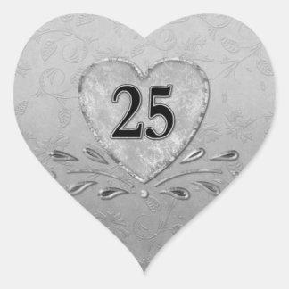 25ème Coeur argenté d anniversaire Autocollants