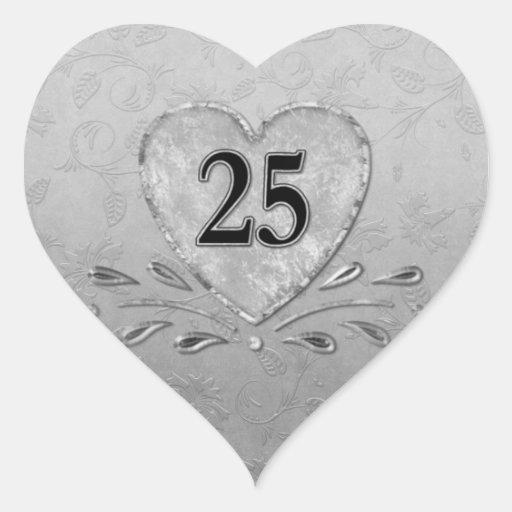 25ème Coeur argenté d'anniversaire Autocollants En Cœur
