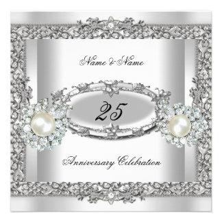 25ème Dentelle argentée blanche élégante 2 de perl Faire-part