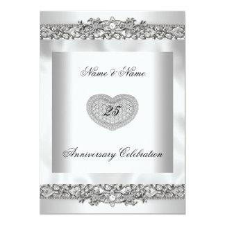 25ème Dentelle argentée blanche élégante 3 de Carton D'invitation 12,7 Cm X 17,78 Cm