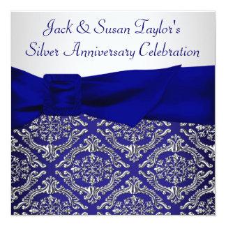 25ème fête d'anniversaire de damassé argentée carton d'invitation  13,33 cm