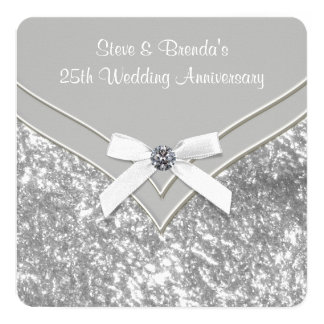 25ème fête d'anniversaire de mariage d'argent carton d'invitation  13,33 cm
