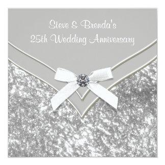25ème fête d'anniversaire de mariage d'argent bristols personnalisés
