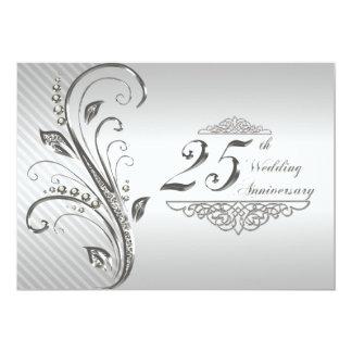 25ème Invitation d'anniversaire de mariage Carton D'invitation 12,7 Cm X 17,78 Cm