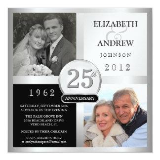 25ème Invitations de fête d'anniversaire - 2 Carton D'invitation 13,33 Cm