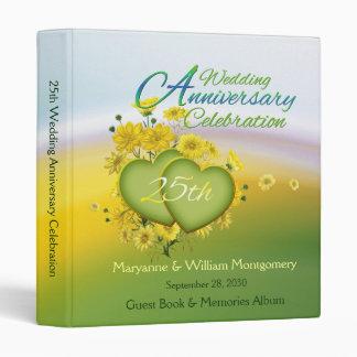 25ème Livre d'invité de fête d'anniversaire de Classeurs 3 Anneaux
