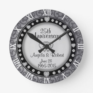 25ème Monogramme d'anniversaire de noces d'argent Horloge Ronde