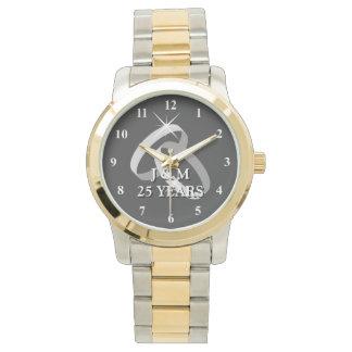 25ème montre d'anniversaire de noces d'argent montres