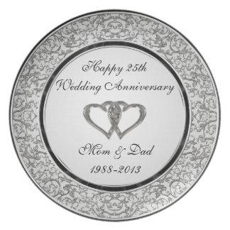 25ème Plat de mélamine d'anniversaire de mariage Assiette Pour Soirée