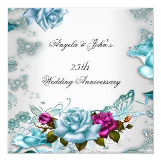 25ème Rose floral bleu d'anniversaire de mariage Carton D'invitation 13,33 Cm