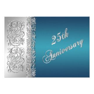 25ème Rouleaux argentés fleuris d'anniversaire ave Faire-parts