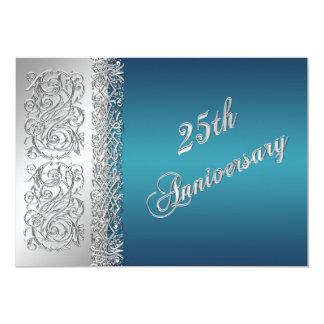 25ème Rouleaux argentés fleuris d'anniversaire Faire-parts