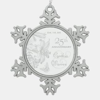 25ème Souvenir de coutume d'anniversaire de noces Ornement Flocon De Neige Pewter