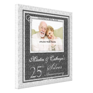 25th Anniversary 12x12 Personalized Photo Canvas