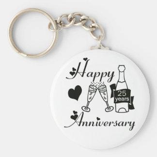 25th. Anniversary Basic Round Button Keychain
