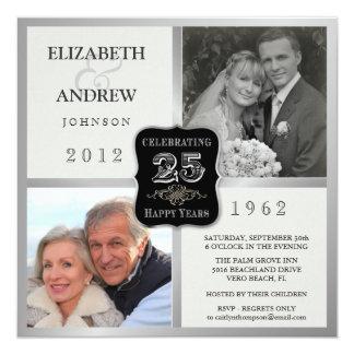 """25th Anniversary Fancy Vintage 2 Photo Invitations 5.25"""" Square Invitation Card"""