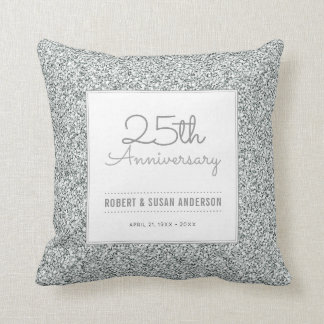 25th Anniversary Faux Silver Glitter Keepsake Throw Pillow