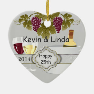 25th ANNIVERSARY GIFT ORNAMENT WINE LOVERS