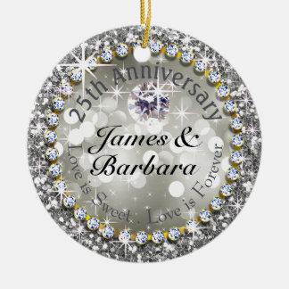 25th Anniversary Glitzy Diamond Bling Ceramic Ornament