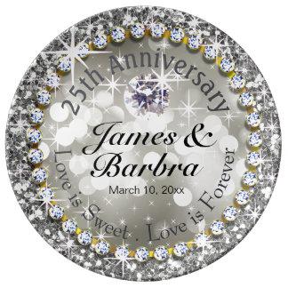 25th Anniversary Glitzy Diamond Bling | silver Plate