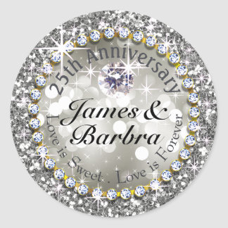 25th Anniversary Glitzy Diamond Bling | silver Round Sticker
