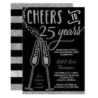 """25th Anniversary Invitation, Silver, Black 5"""" X 7"""" Invitation Card"""