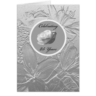 25th Anniversary Invitation -- Silver Flowers