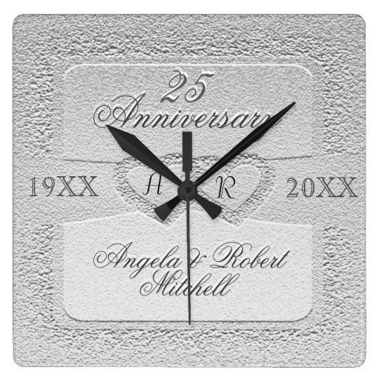25th Anniversary Monogram Wall Clocks